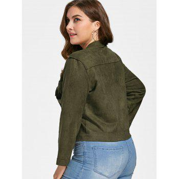 Fringe Suede Plus Size Jacket - ARMY GREEN ARMY GREEN