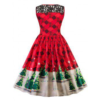 Vintage Lace Insert Christmas Pin Up Skater Dress - RED M