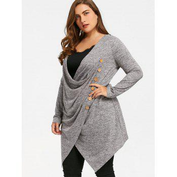 Plus Size Crossover Marled Tunic Top - GRAY XL