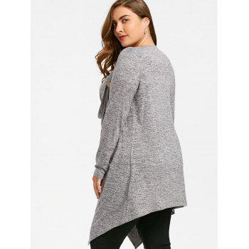 Plus Size Crossover Marled Tunic Top - GRAY 3XL
