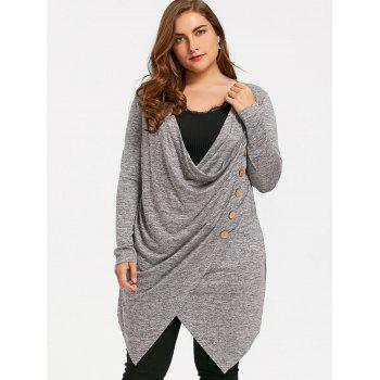 Plus Size Crossover Marled Tunic Top - GRAY 5XL