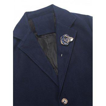 Rose Embellished Notch Lapel Wool Blend Coat - BLUE L