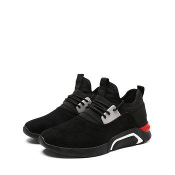 Elastic Band Color Block Suede Athletic Shoes - FULL BLACK 42