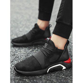 Breathable Faux Suede Color Block Athletic Shoes - FULL BLACK 40