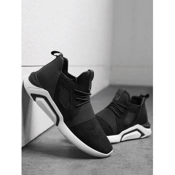Breathable Faux Suede Color Block Athletic Shoes - BLACK WHITE 43