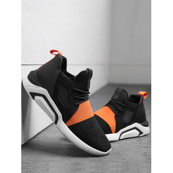 Breathable Faux Suede Color Block Athletic Shoes - BLACK/ORANGE 44