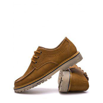 Low Heel Stitching Casual Shoes - BROWN 39