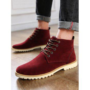 Low Heel High Top Casual Shoes - RED 43