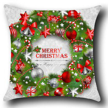 Christmas Garland Printed Throw Pillow Case - WHITE/GREEN W18 INCH * L18 INCH