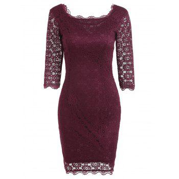 Cut Out Lace Bodycon Party Dress - WINE RED WINE RED
