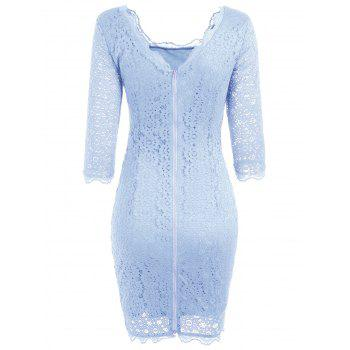Cut Out Lace Bodycon Party Dress - Pantone Turquoise M
