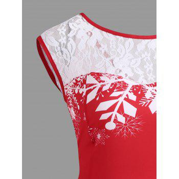 Christmas Lace Insert Santa Claus Print Party Dress - RED M