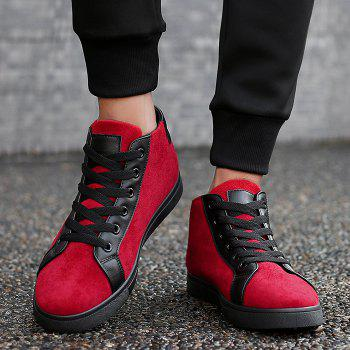 Round Toe Graphic Patched High Top Sneakers - RED 44