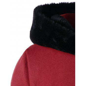 Plus Size Faux Fur Hooded Dress Coat - RED XL