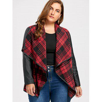 Plus Size PU Leather Panel Plaid Open Front Jacket - CHECKED 3XL
