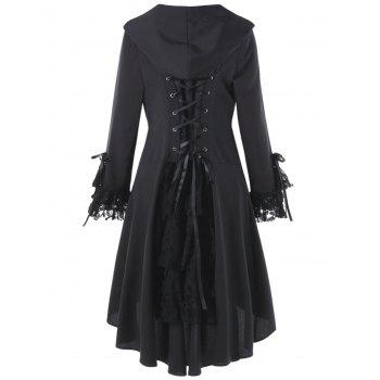 Plus Size Lace Panel Lace Up High Low Hooded Coat - BLACK 4XL