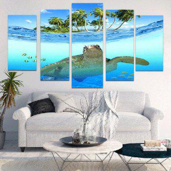 Seascape Sea Turtle Unframed Canvas Split Paintings - BLUE BLUE