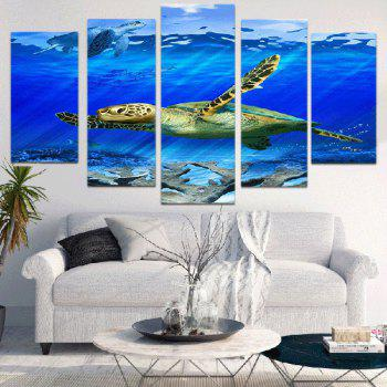 Sea Turtle Unframed Canvas Split Paintings - BLUE 1PC:12*31,2PCS:12*16,2PCS:12*24 INCH( NO FRAME )