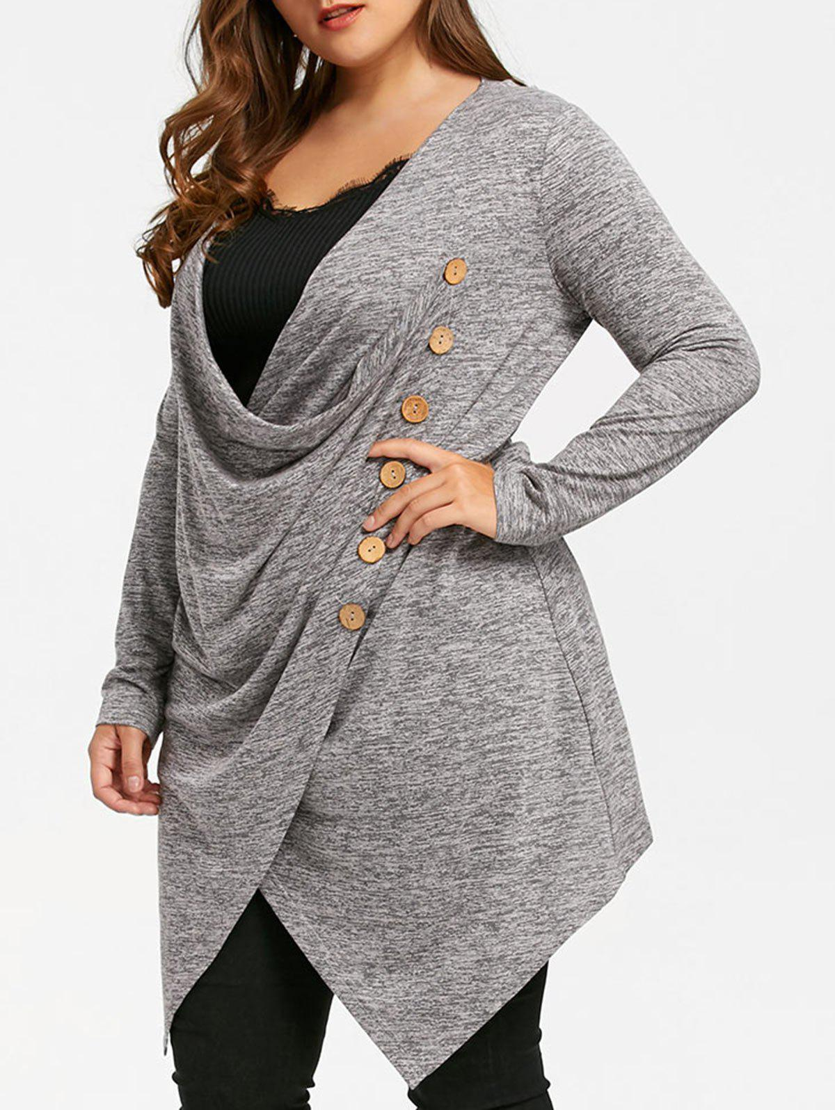 Plus Size Crossover Marled Tunic Top - GRAY 4XL