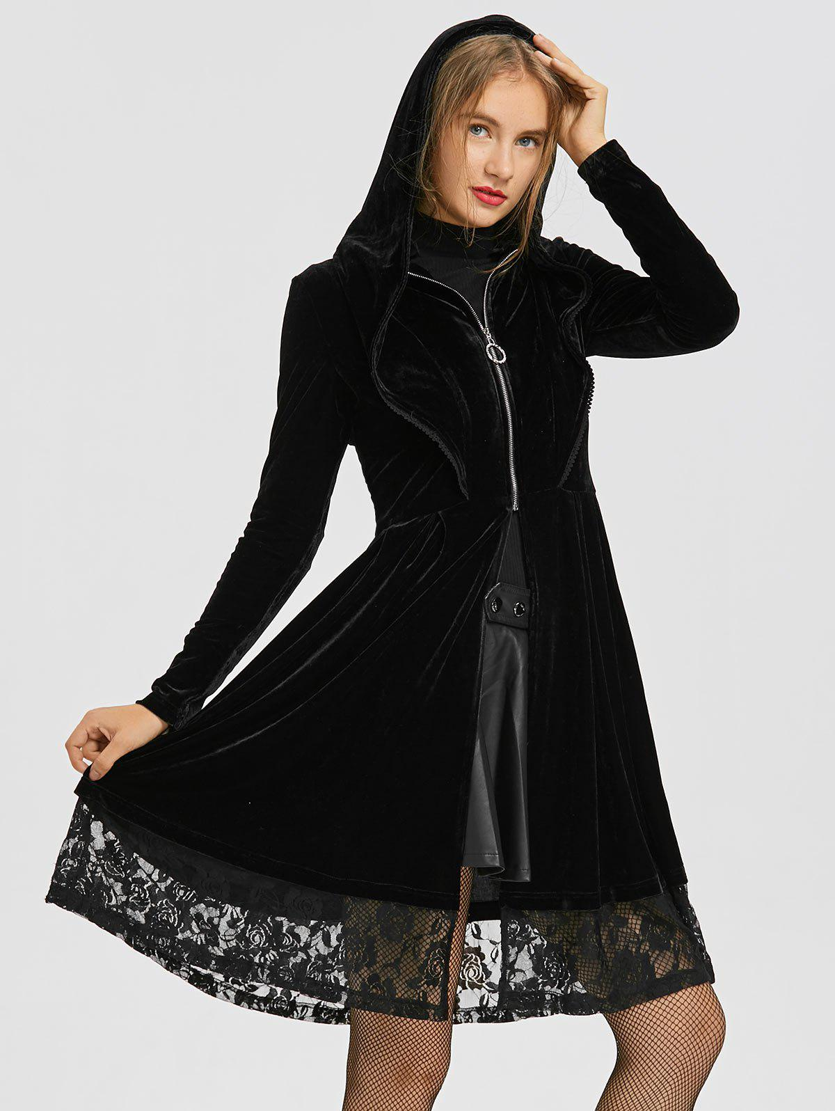 Velvet Ruffle Neck Lace Trim Long Hooded Coat, Black