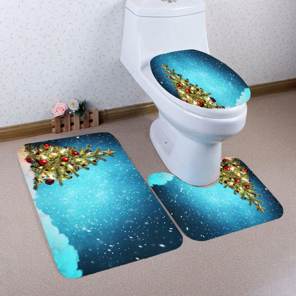 2018 Snowy Christmas Tree Patterned 3Pcs Toilet Bath Mat Set