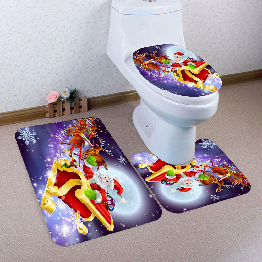 3Pcs Santa Claus Elk Sled Patterned Toilet Bath Rug Set - COLORFUL