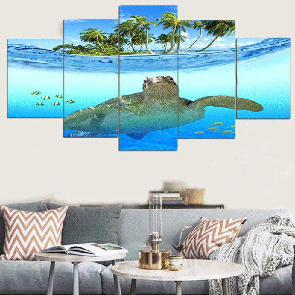 Seascape Sea Turtle Unframed Canvas Split Paintings - BLUE 1PC:12*31,2PCS:12*16,2PCS:12*24 INCH( NO FRAME )