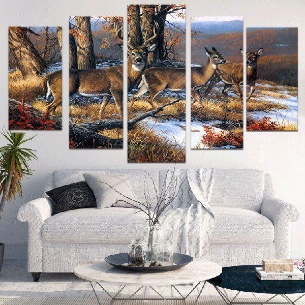 Vintage Deer Print Unframed Canvas Split Paintings - BROWN 1PC:12*31,2PCS:12*16,2PCS:12*24 INCH( NO FRAME )