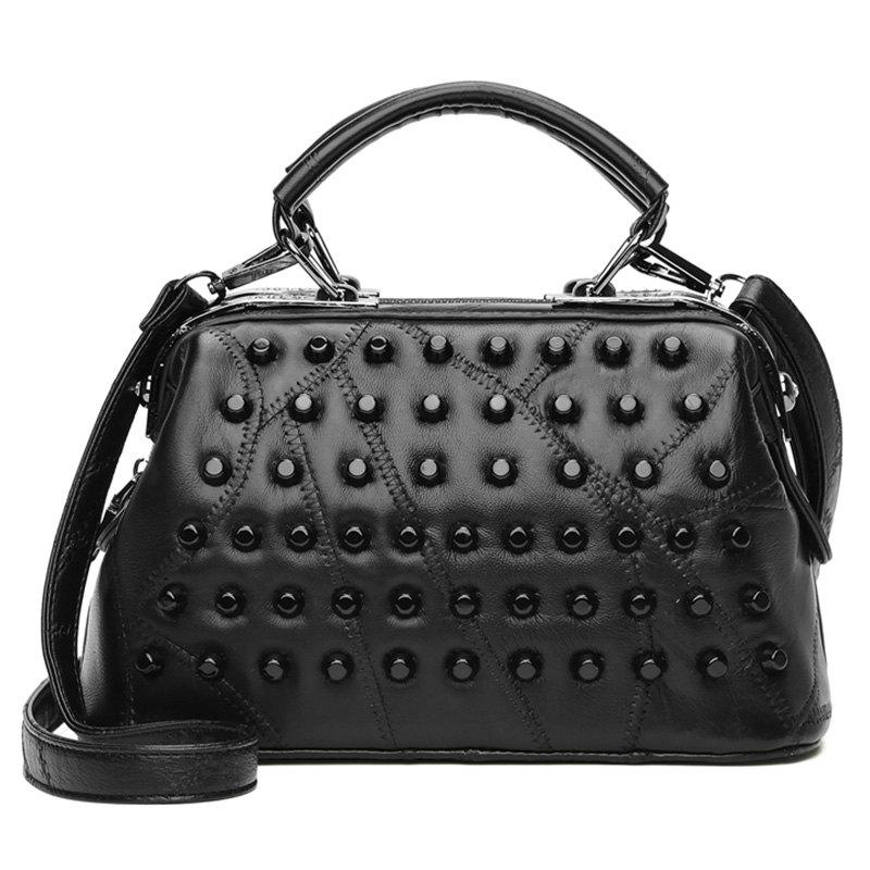 Stitching Rivets Quilted Handbag - BLACK