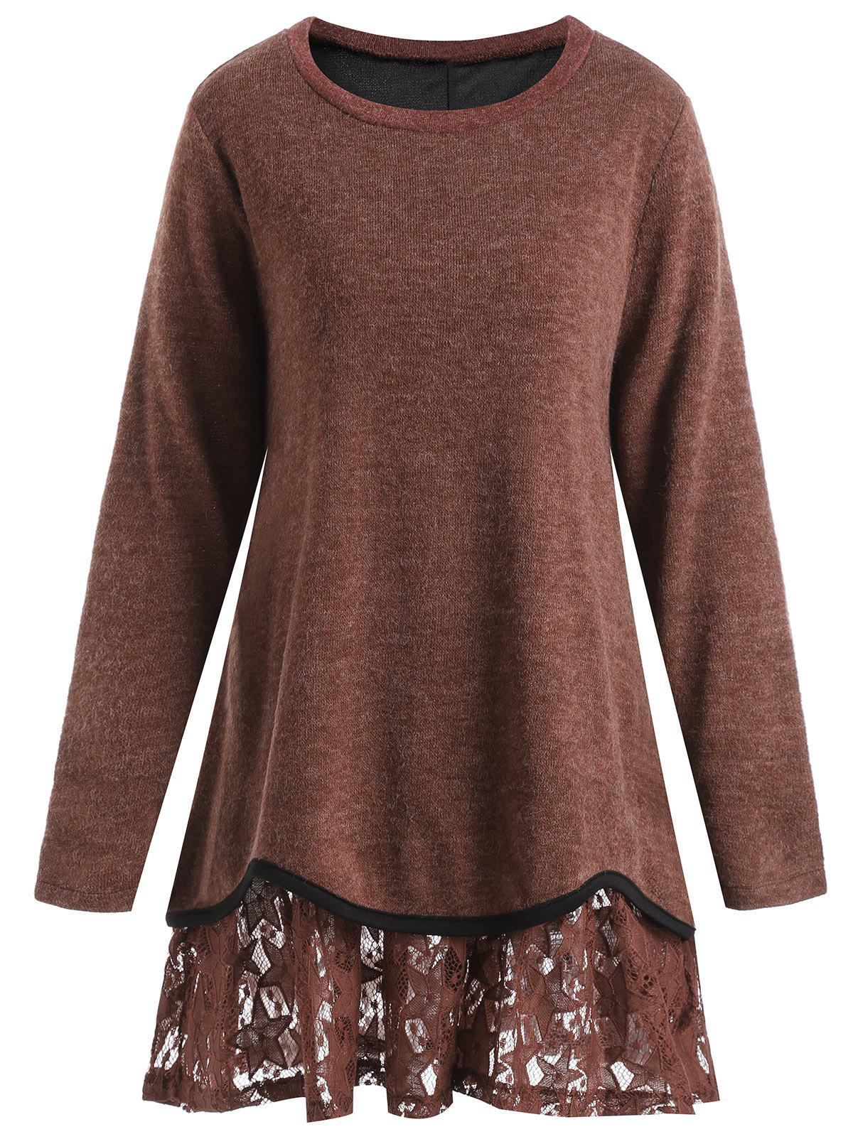 Plus Size Star Lace Overlay Knitwear - RED BROWN 3XL