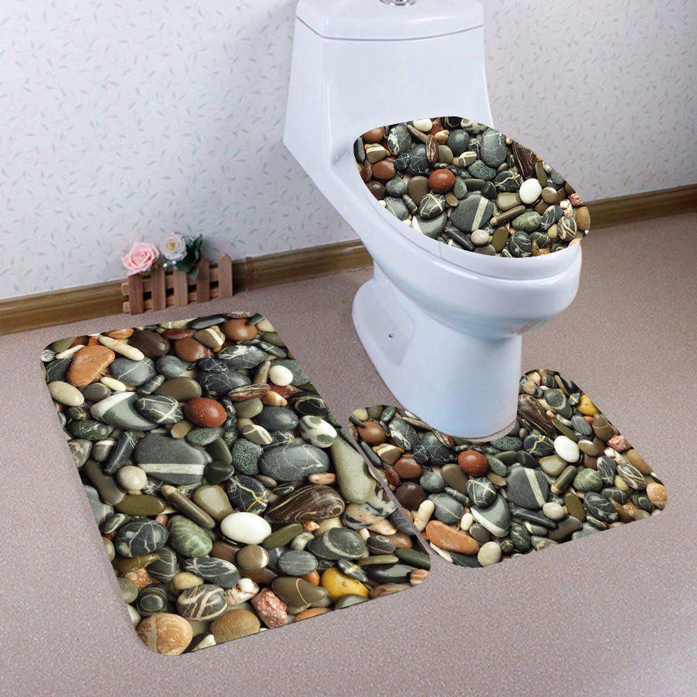 Cobblestones Pattern 3Pcs Bath Toilet Mat Set - COLORMIX