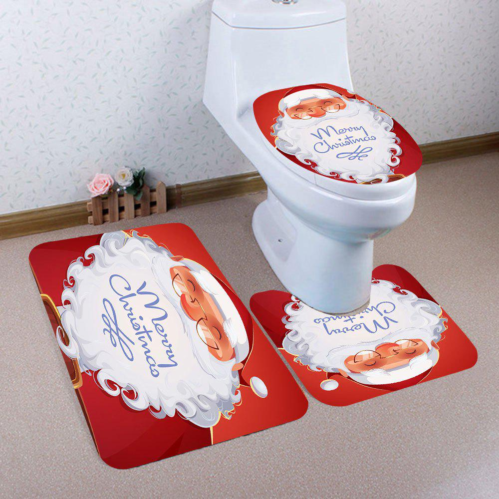 Smiling Santa Claus Pattern 3Pcs Toilet Bath Rug Set - RED/WHITE