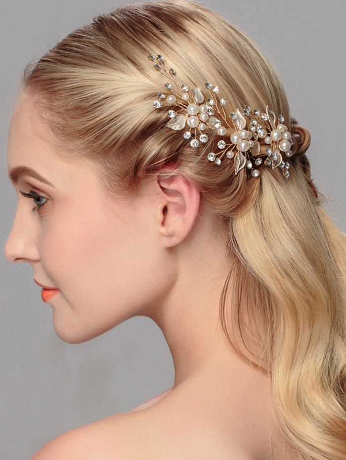 Faux Pearl Rhinestone Leaf Wedding Hairpin - GOLDEN