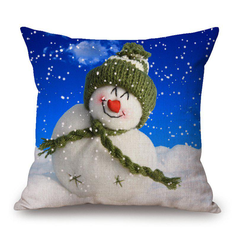 Christmas Snowman Printed Linen Decorative Pillow Case linen christmas snowman printed home decor pillow case