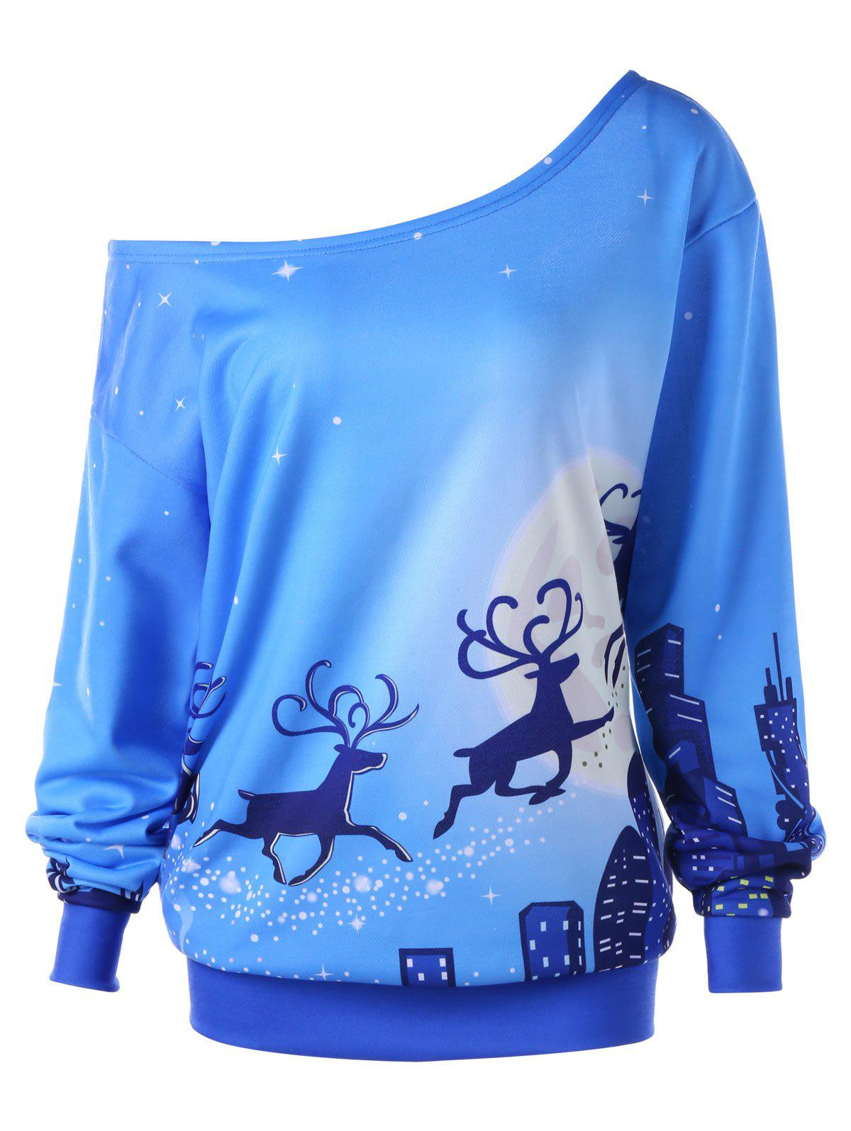 Plus Size Christmas Reindeer Skew Collar Sweatshirt plus size christmas reindeer skew collar sweatshirt