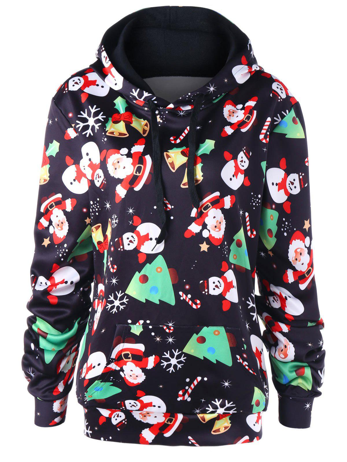 Christmas Plus Size Santa Claus Kangaroo Pocket Hoodie цены