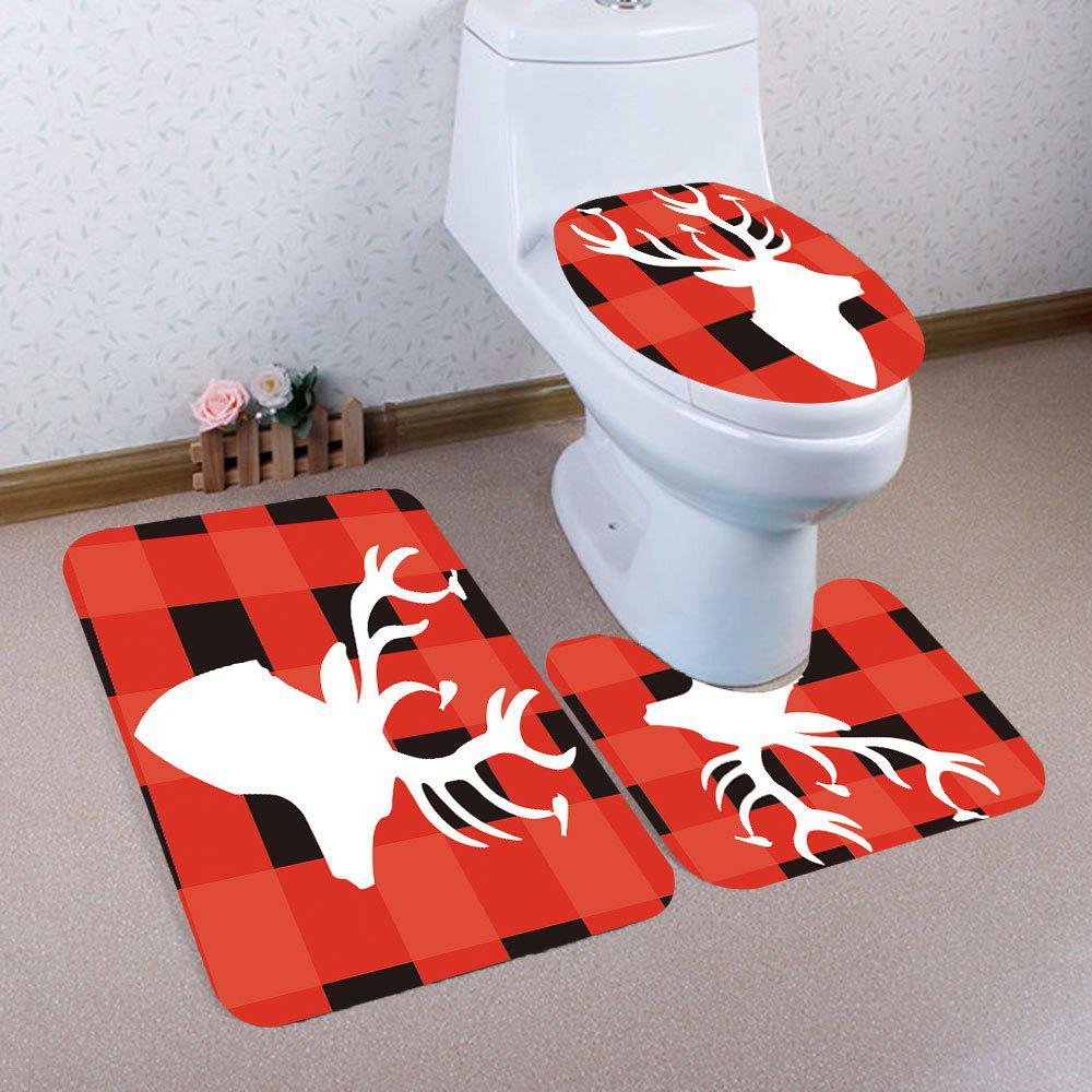 Grid And Elk Pattern 3Pcs Bath Toilet Mat Set halloween bloody hand pattern 3 pcs bathroom toilet mat
