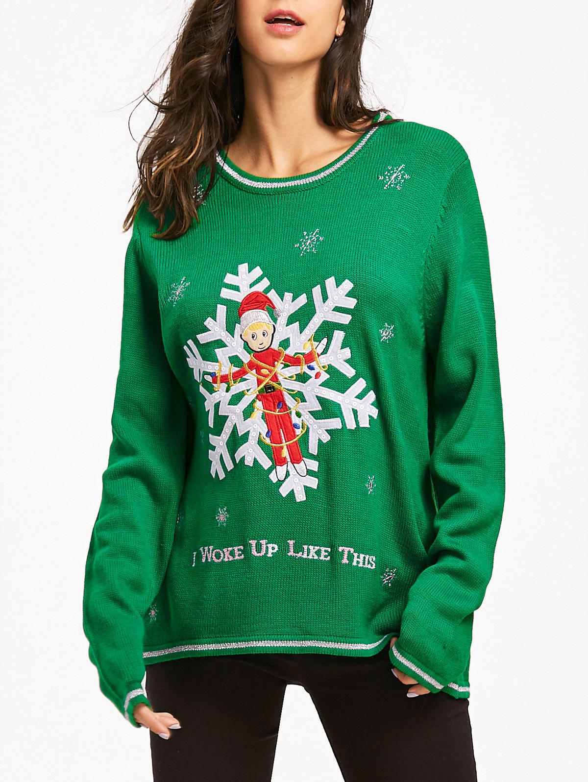 Christmas Snowflake Jacquard Letter Embroidered Sweater christmas letter and deer jacquard sweater