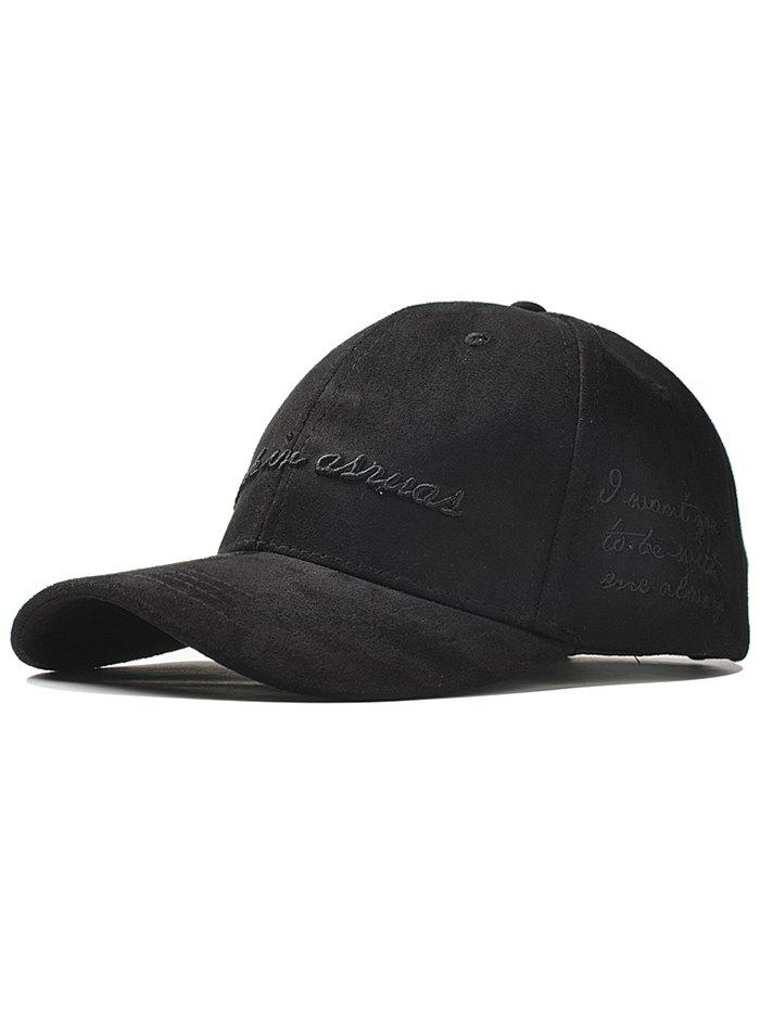 Outdoor Letter Embroidery Faux Suede Graphic Hat - BLACK