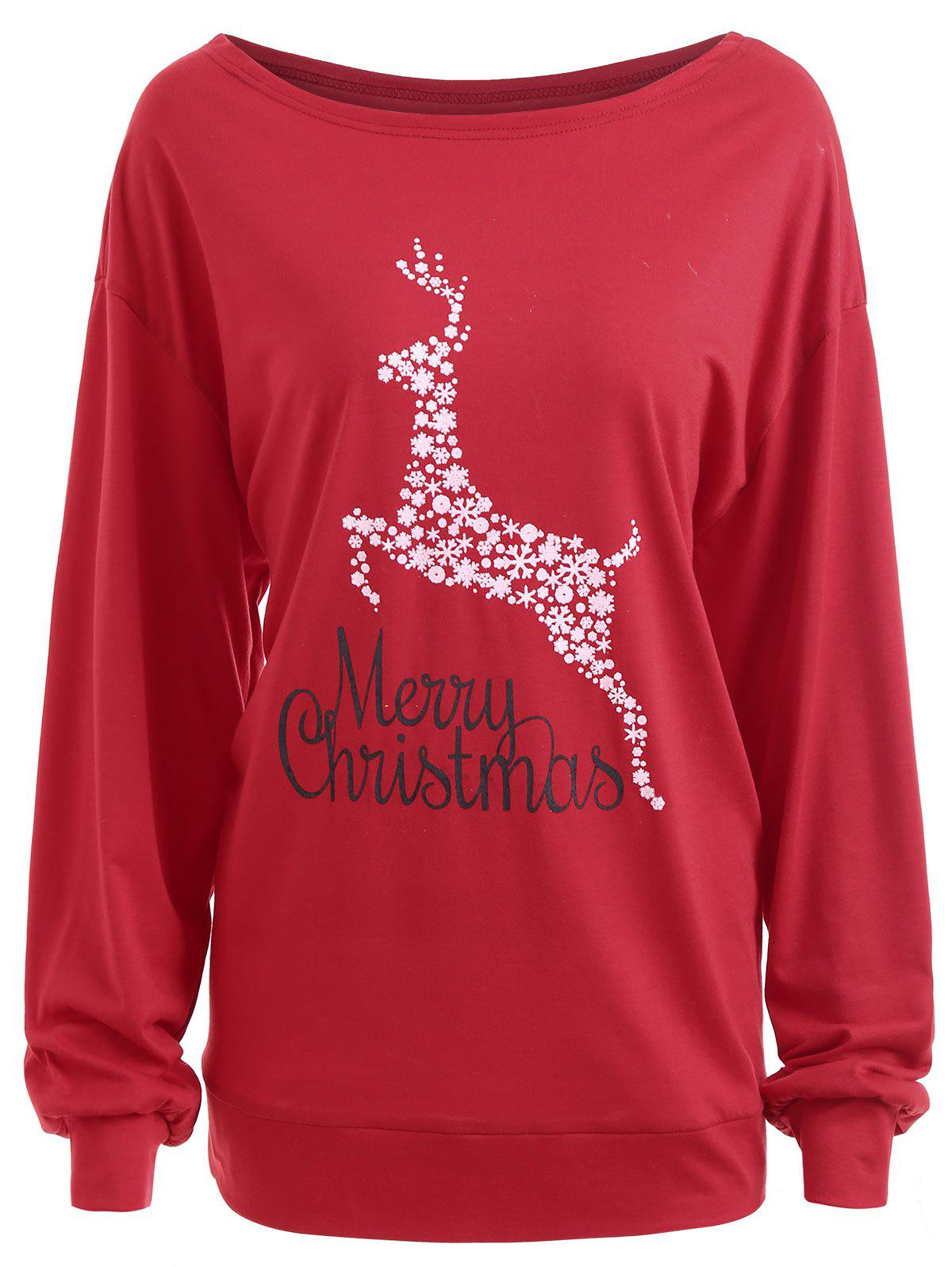 Plus Size Merry Christmas Floral Deer Graphic T-shirt корм для кошек акана