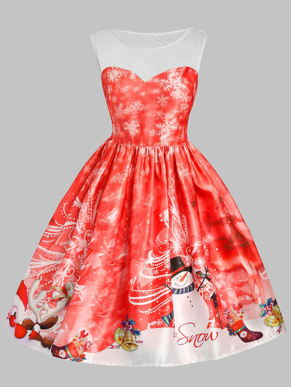 Christmas Snowman Snowflake Mesh Panel Dress - RED M