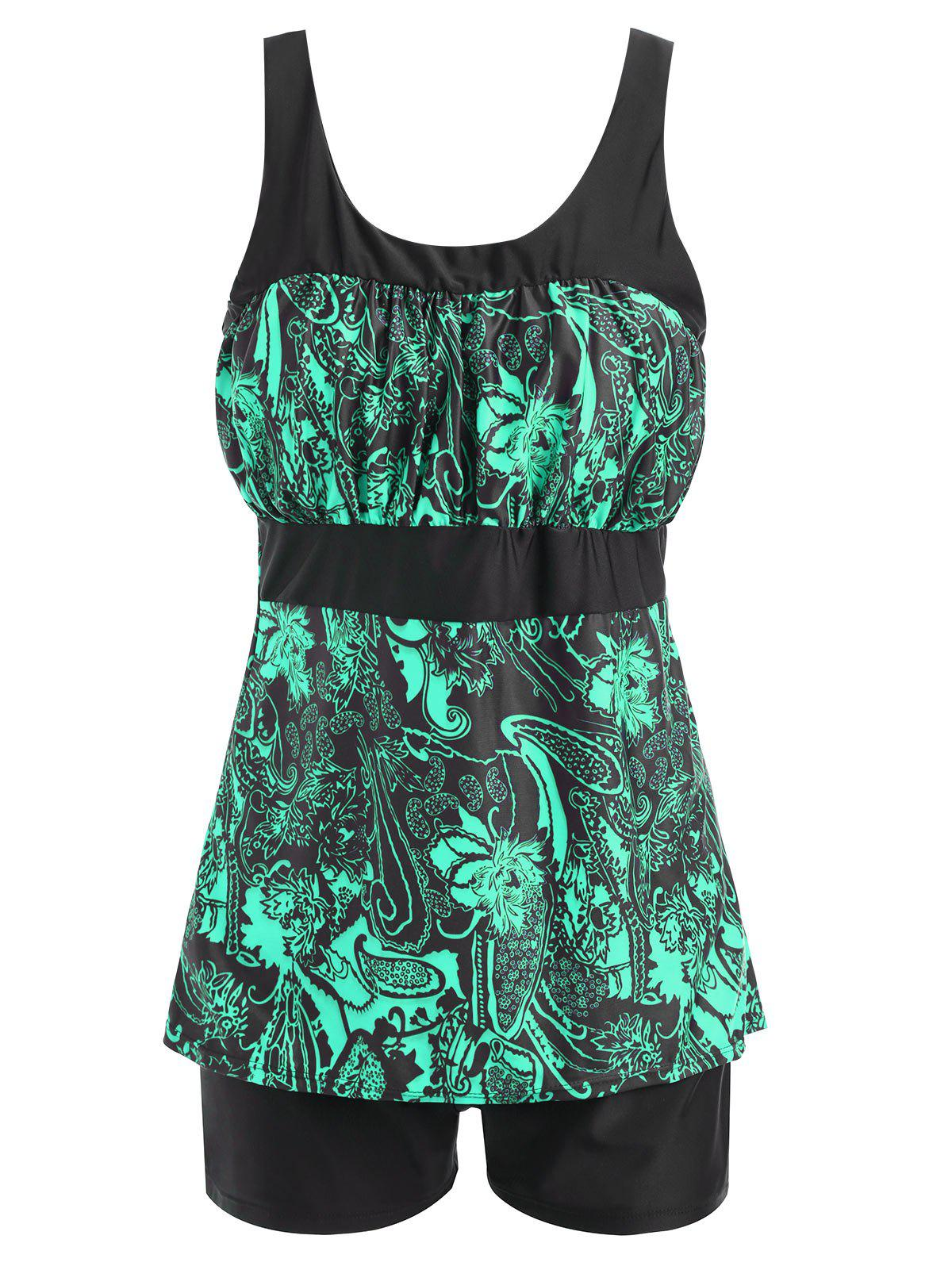 Floral Print Padded Plus Size Tankini Set - GREEN 5XL