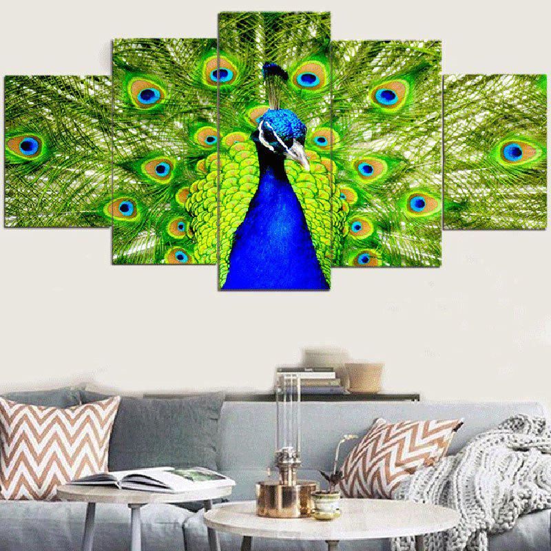 Peacock Pattern Unframed Split Wall Art Canvas Paintings wall art wolf pattern unframed canvas paintings