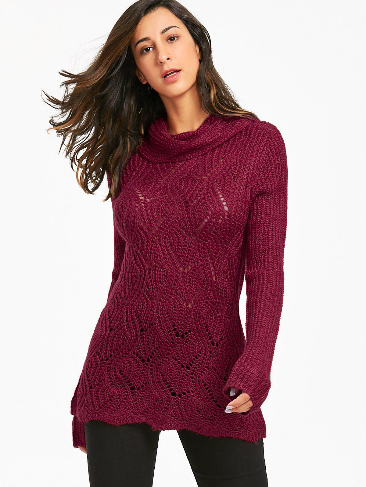 2018 Cable Knit Chunky Turtleneck Sweater DARK RED ONE SIZE In ...