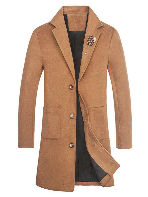 Rose Embellished Notch Lapel Wool Blend Coat - KHAKI L