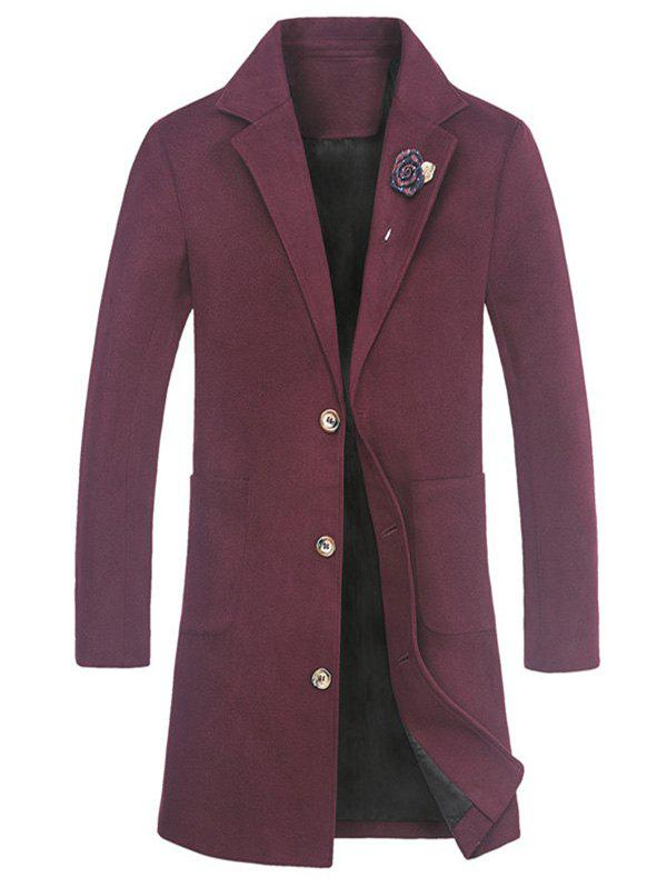Rose Embellished Notch Lapel Wool Blend Coat - RED L