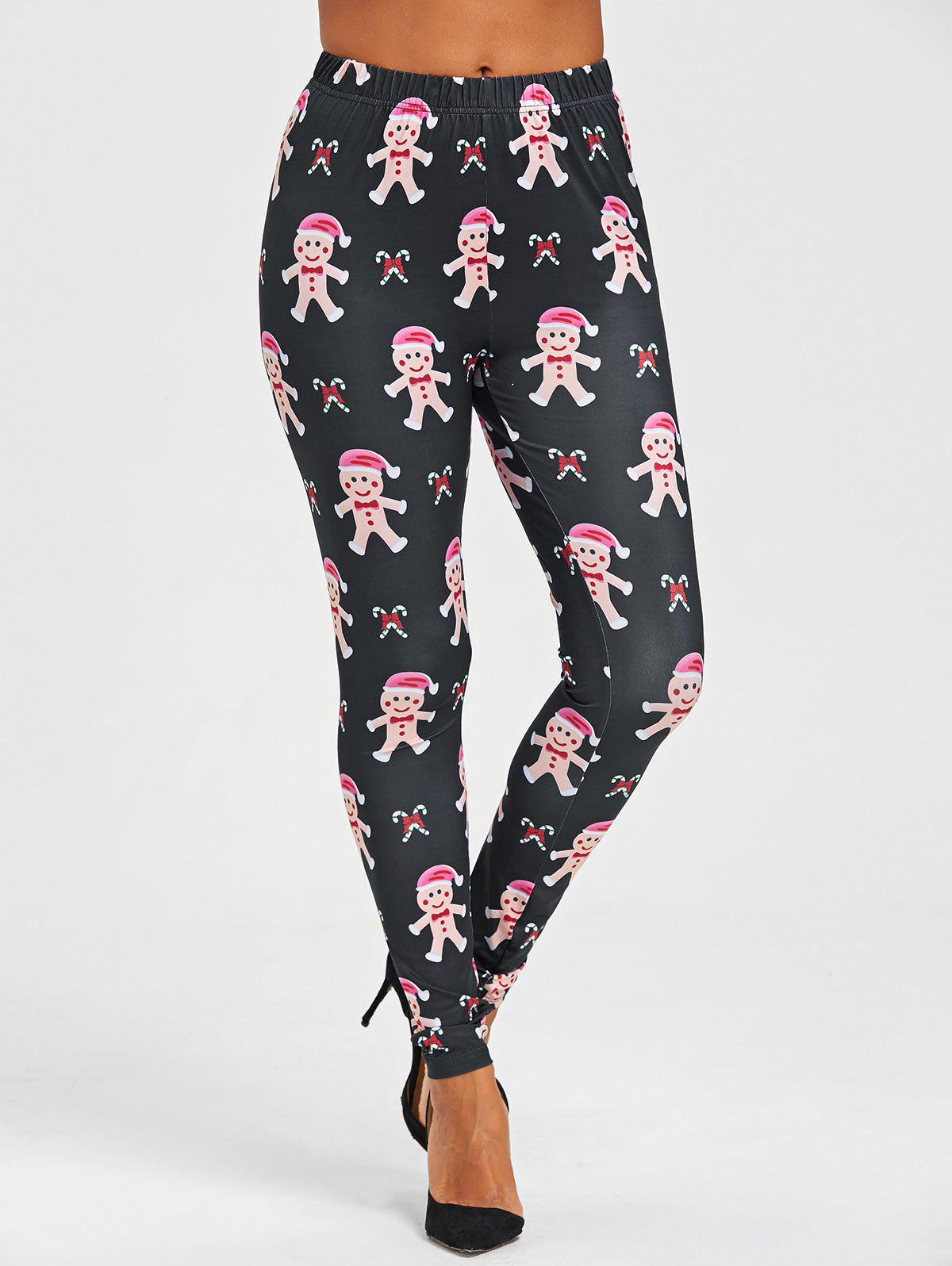 Christmas Gingerbread Man Print Leggings - BLACK L