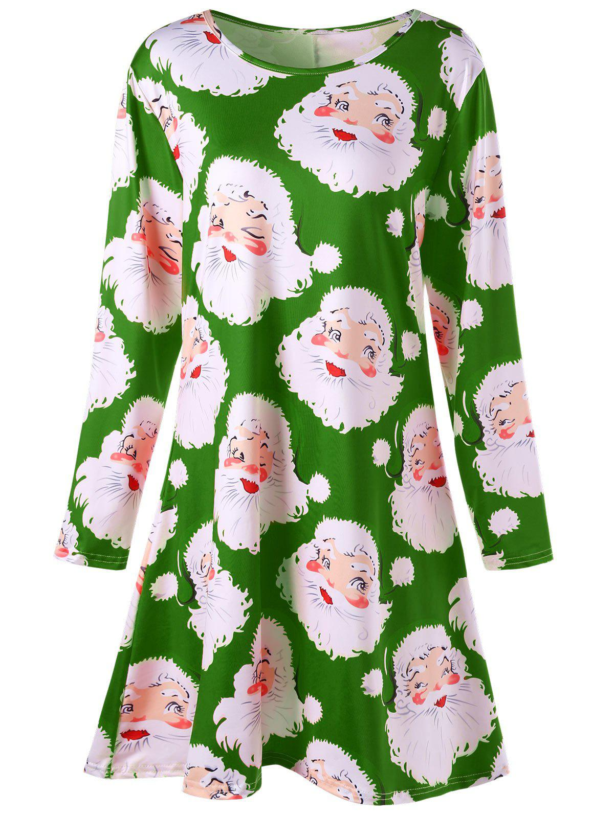 Plus Size Santa Claus Print Mini Swing Dress plus size christmas santa claus print mini swing dress