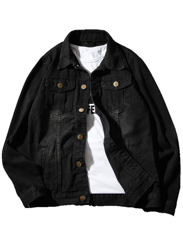 Chest Pocket Button Up Casual Denim Jacket - BLACK 2XL