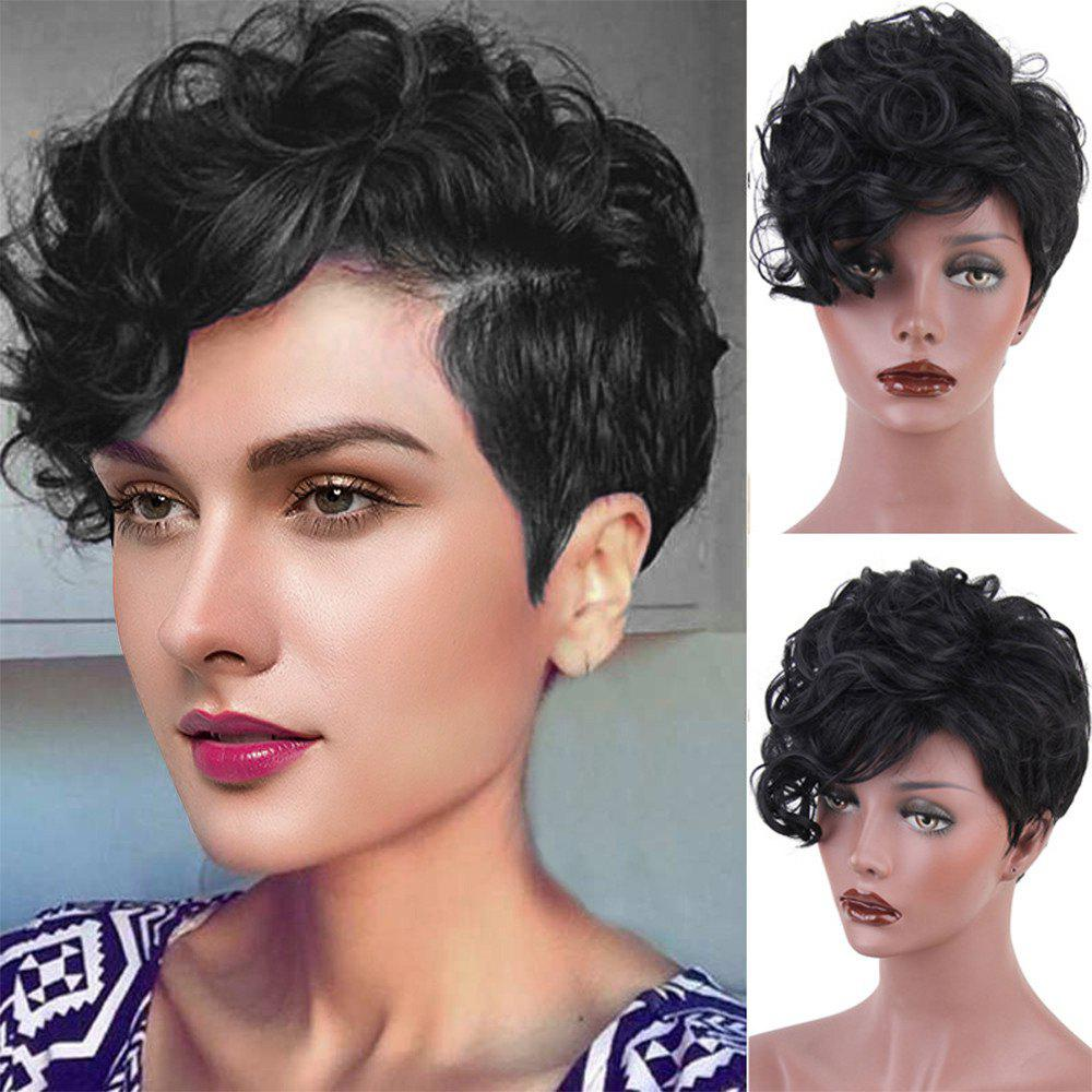 Inclined Bang Layered Shaggy Short Curly Synthetic Wig short pixie cut capless straight inclined bang synthetic wig